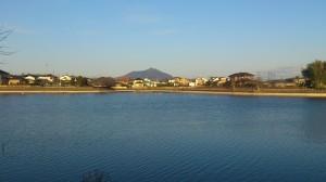 筑波山を見ながら休憩
