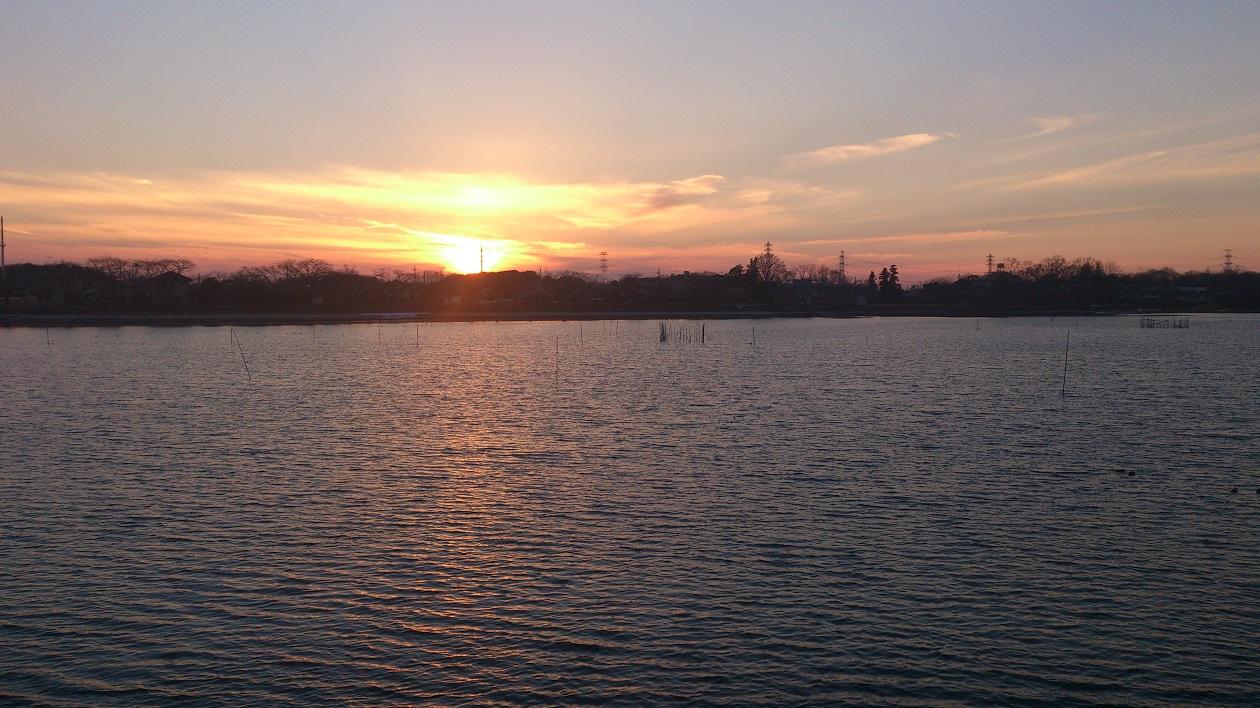 砂沼の夕焼け