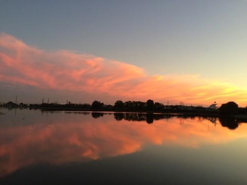 夕焼け砂沼鏡